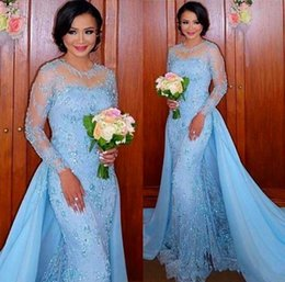 Wholesale Removable Train Prom Dress - Long Sleeves Prom Dresses Removable Skirt Sheer Neck Beads Poet Mermaid Evening Gowns For Party Wear Sweep Train Special Occasion Dress