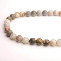 Wholesale Religious Bracelet Bulk - wholesale custom jewelry 4mm, 6mm, 8mm natural stone bulk round matte bamboo agate beads gemstone beads for bracelet and necklace