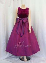 Wholesale Big Ivory Satin Bow - Simple Purple Prom Dresses With Big Bow 2017 Sleeveless Tea Length Velvet Top Satin Skirt Cheap Prom Dress Vestido De Formatura