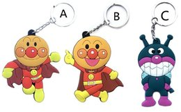 Wholesale Keys Caps Rubber - 100pcs Lot key wallets Classic Cartoon anpanman pvc rubber keychain cubre llaves double sided key ring caps, DHL Free Shipping