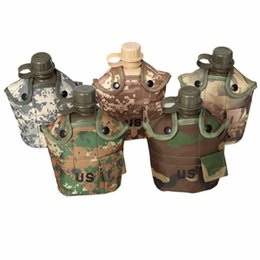Wholesale 1l Bottles - Wholesale-1L Camouflage Kettle Water Bottle For Outdoor Sports Camping Hiking NEW