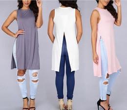 Wholesale Loose Side Shirts - Tshirt Femme 2016 Hot Summer Women Side Split Loose Long T-shirts Tops European Style Solid Harajuku Sleeveless O Neck Tops S-XL