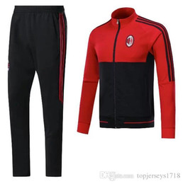Wholesale Sweater Pant Sets - 2017 AC Milan Soccer sets training suit sweatshirt and pants survetement 2017 AC Milan Sweater Tracksuit Training Suit
