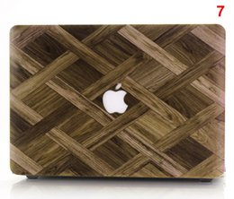 Wholesale Cover Macbook Logo - Protective PVC Cover Shell logo laptop Protector New Wood Grain Hard Case For apple Macbook Air Pro 11 12 13 15 Retina Bag