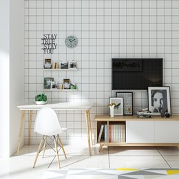 Wholesale Fiber Store - Nordic Wallpaper Non-woven Modern Simple Black White Lattice Clothing Store Living Room Bedroom Decor Wallpaper For Walls Roll