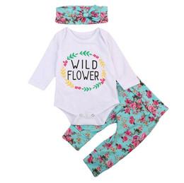 Wholesale wild flowers - Hot sale baby floral romper baby girls romper+headbnd+pant 3pcs set lettre wild flower jumpsuit with bowknot headband