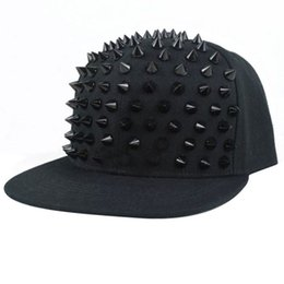 Wholesale Hat Snapback Spike - Hat Snapback Cap Men Women Spike Studs Rivet Cap Hip Hop Baseball Punk C00261 SMAD