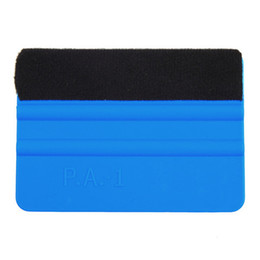 Wholesale Film Applicator - Squeegee Car Film Tool Vinyl Blue Plastic Scraper Squeegee With Soft Felt Edge Window Glass Decal Applicator