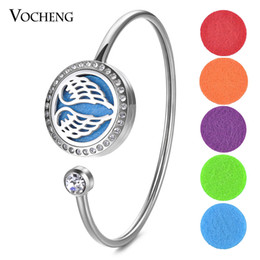 Wholesale Wings Bangles - 25mm Essential Oil Scent Diffuser Locket Stainless Steel Bangle Fit 18mm Felt Pads Wings without Felt Pads VA-587