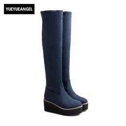 Wholesale Ladies Suede Platform Wedge Shoes - Womens Platform Stretchy Faux Suede Over The Knee Boots Slim Fit Elegant Lady Shoes Botas Feminina Round Toe Slip On Footwear