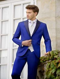 Wholesale Royal Blue Vest L - Wholesale-New Fashion One Button Royal Blue Groom Tuxedos Peak Lapel Groomsmen Best Man Wedding Prom Dinner Suits (Jacket+Pants+Vest+Tie)
