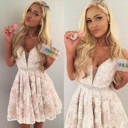 Wholesale Deep V Sweetheart Dress - 2017 Full Lace New Homecoming Dresses Little White Beaded Crystal Deep V Neck Sleeveless Cheap Backless Party Gowns Vintage Short Prom Dress