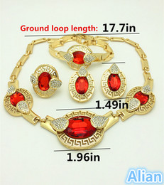 Wholesale Costume Rhinestone Necklace - 2016 Handmade Dubai Gold Plated Jewelry Sets 18K Fashion Big Nigerian Wedding African Jewelry Sets Costume Dubai For Women