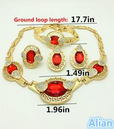 Wholesale Costume Big Necklace Sets - 2016 Handmade Dubai Gold Plated Jewelry Sets 18K Fashion Big Nigerian Wedding African Jewelry Sets Costume Dubai For Women