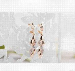 Wholesale Rice Earrings - New Arrival Fashion ROXI Jewelry Rose Gold Plated Genuine Austrian Crystal Rice Ears Long Drop Earrings For Women Party Gift