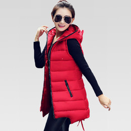 Wholesale Long Hooded Down Vests - Women Winter Vest Waistcoat 2016 Womens Long Vest Sleeveless Jacket Faux Fur Collar Hooded Down Cotton Warm Vest Female