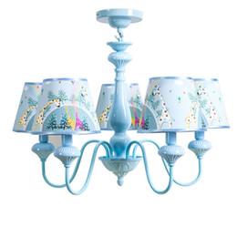 Wholesale Giraffe Baby Rooms - OOVOV Kid's Room Pendant Lamp Blue Iron Giraffe Cosmic Planet Bedroom Baby Room Pendent Lights Chandelier