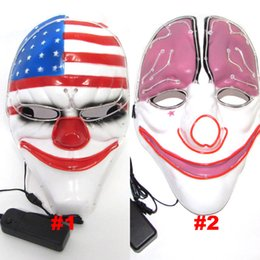 Wholesale Brain Gift - LED Halloween Masks EL Wire Glowing Mask Masquerade Birthday Party Full Face Brain Flag Clown Masks Halloween Costumes Party Gift HH7-161