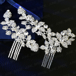 Wholesale Rhinestone Headpiece Comb - Hot Sell Plated Silver Crystal Bridal Hair Comb High Quality Rhinestone Wedding Jewelry Accessory Floral Headdress Headpieces Free Shipping