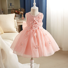 Wholesale Big Bow Mini Dress - Girl's Dresses Lace Tulle Princess Big Girl Pink White Girls Party Dressy Wedding Girl's Flower Dance Dress Sleeless Suspender Dress A7457