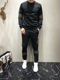 Wholesale Two Piece Men Cotton Suits - Europe and the United States tide brand gold embroidery men's suits 2017 autumn new personality crew neck sweater foot pants two-piece suit