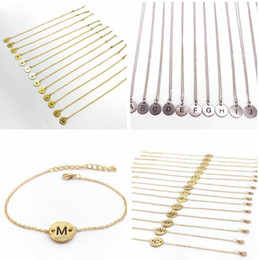 Wholesale Wholesale Gold Plated Initial Bracelets - Fashion Silver gold Stainless steel Initial choker Necklaces & bracelets Hot Pave Plate A-Z Letter Circle Pendant necklaces for Women