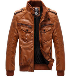 Wholesale Led Leather Jacket - New winter men's Slim leather jacket men plus velvet thickening motoodezhda lead singer dress costumes  M-4XL