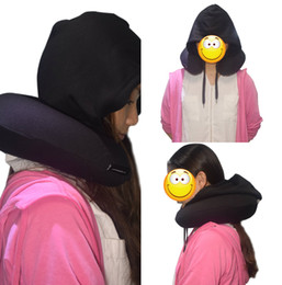 Wholesale Relax Pillow - Wholesale U Shape Neck Pillow With Cap For Travelling Office Cheap Free Shipping Black Neck Relax Wedding Favors