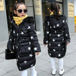 Wholesale Cute Red Winter Coats - 2016 Kids Girls Winter Thick Long Cotton-padded Jackets and Coats Fashion Children Cute Star Fur Collar Hooded Warm Coat Outwear