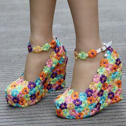 Wholesale Colorful Platforms - New Colorful lace Flower Wedges Pumps High Heels Shoes Women White Lace Platform Bridal Wedges Heels Wedding Shoes