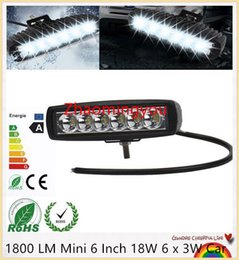 Wholesale Car Led Bars - 1800 LM Mini 6 Inch 18W 6 x 3W Car CREE LED Light Bar as Worklight   Flood Light   Spot Light for Boating   Hunting   Fishing