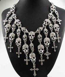 Wholesale Gorgeous Cross Necklace - Newest Gorgeous Fashion Necklace Skeleton skull Cross Jewelry crystal Department Statement Women Choker Necklaces Pendants