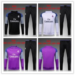 Wholesale Children S Wear Boys - 2016 2017 Kids Long Sleeve Real Madrid Tracksuit Jogging Boys Soccer kit Football Suits Youth Sport Wear Children Ronaldo training tracksuit