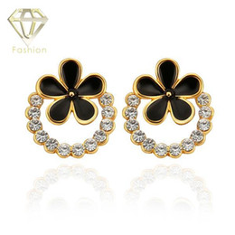 Wholesale Round Baking Tins - Unique Design 18K Rose White Gold Plated Round Shaped Inlaid AAA+ CZ Diamond Baked Enamel Flower Studs Earrings Jewelry