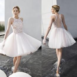 Wholesale Mira Zwillinger Wedding Dresses - Mira Zwillinger 2017 Short Wedding Dresses Jewel 3D Floral Appliques Bridal Gowns Sleeveless Knee Length Tulle Wedding Gown