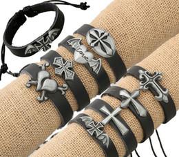 Vintage Leder Armbänder Armreifen Metall Kreuz Jesus Silber Kreuz Herz Flügel Punk Armband 8 Stile Charme Modeschmuck von Fabrikanten
