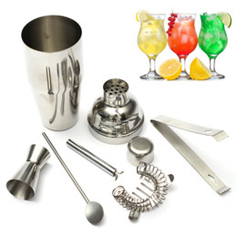 Wholesale icing kits - New 5pcs  Set 550ml Stainless Steel Cocktail Shaker Mixer Drink Hawthorn Strainer Ice Tongs Mixing Spoon Measure Cup Bar Tool Kit