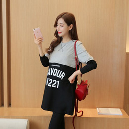Wholesale Maternity Long Sweater Dress - Maternity Dresses Pregnant women postpartum lactation clothes in the autumn and winter sweater long spell color dress