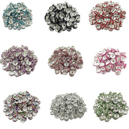 Wholesale Cheap Loose Beads Wholesale - Wholesale-New! 5AAA+ Quality 50 piece lot Cheap Handmade Rhinestone Loose Crystal Silver Plated Rondelle Spacer Beads Free Shipping LIF