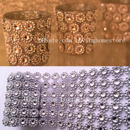 Wholesale Diamond Mesh Rhinestone Wrap Ribbon - 3 Yards 2.7M Sunflower Diamond Shape Mesh Wrap Roll Faux Crystal Ribbon Wrap Trim Looking Rhinestone Cake Candle Decor