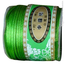 Wholesale Accessory Cord 2mm - 2mm Apple Green Nylon Cord Jewelry Findings Accessories Rattail Satin Thread Macrame Rope Shamballa Bracelet Strings 50m Roll