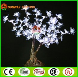Wholesale Cherry Light Tree Green - 0.6m 2ft Height LED Lighted Cherry Blossom Artificial Trees Wedding Christmas Decorations 107pcs LEDs High Simulation Potted Landscape Tree