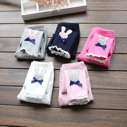 Wholesale Rabbit Tights - 2016 children spring autumn leggings trousers girl rabbit lace butterfly trousers baby cotton tights pants kids safe under wear leisure B005