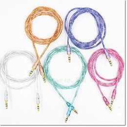 Wholesale Iphone Cable Colorful - DHL Free Colorful Braided Woven 3.5mm Aux Audio Auxiliary Cable Jack Male to Male Plug Stereo Cord Wire for iphone samsung HTC smart phone