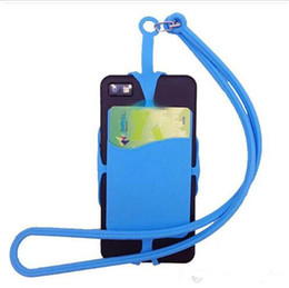 Wholesale Mobile Phone Lanyard Iphone - Universal mobile soft Silicone case with long Lanyard strap pounch card slot holder for iphone X 8 7 plus samsung smart phone DHL