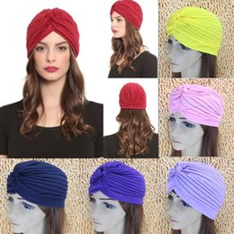Wholesale Hot Sleeping - Hot!!! Top Quality Stretchy Turban Head Wrap Band Sleep Hat Chemo Bandana Hijab Pleated Indian Cap 35 Colors Factory Price