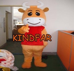 Wholesale Cow Halloween Costumes Adult - Wholesale-Lovely Bull Mascot Costume Cow Calf Cattle Ox Adult Halloween Fancy Dress Cartoon Outfit Suit Free