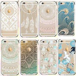 Wholesale Elephant Design Cases - Clear soft TPU totem Design case cases mandala Elephant lotus equinox flower dream catcher back cover for iphone 5 5s se 6 6s plus