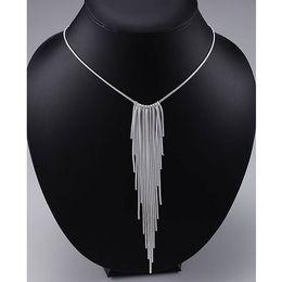 2019 кольцо из оникса из белого золота 18 тыс. Длинные кисточкой серебряные подвески ожерелье цепи подвески змея ювелирные изделия Ожерелье для женщин 2016 стерлингового серебра 925 кисточкой ожерелье подвески