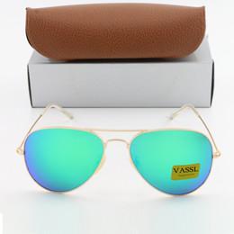 Wholesale Mirror Goggles - 1pcs Best Quality Men Women Designer Sunglasses Pilot Sun Glasses Vassl Gold Frame Colorful Rose Pink 58mm Len oculos de sol with Box
